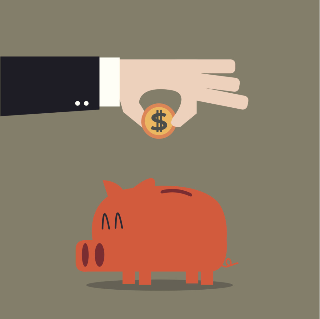 drawing of hand putting coin in piggy bank