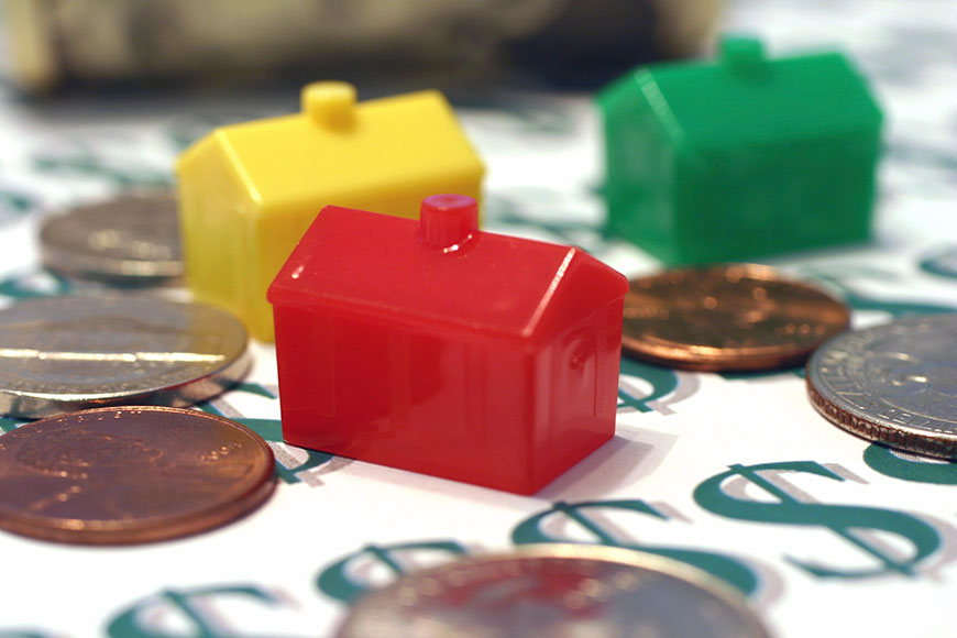 Plastic houses and U.S. coins
