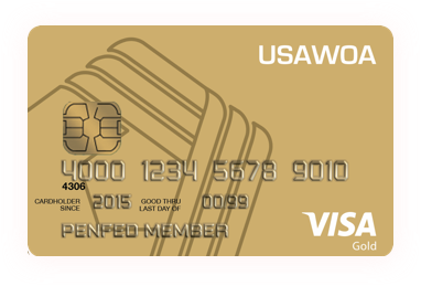 Image of United States Army Warrant Officers Association Gold Visa card