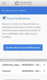 Travel Notifications Screen