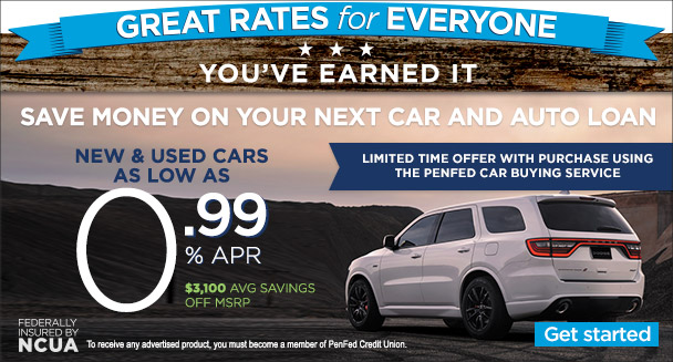 Auto loans as low as 0.99% APR when you use the PenFed Car Buying Service